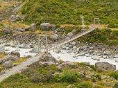 Swing bridge over mountain river in New Zealand