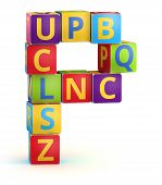 foto of letter p  - Letter P from ABC cubes for kid spell education - JPG