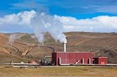 Geothermal Power Station In Iceland At Summer Sunny Day