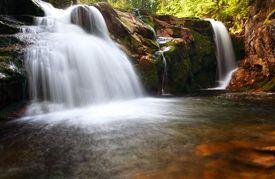 stock photo of lps  - Small elbe waterfall in czech republic  - JPG