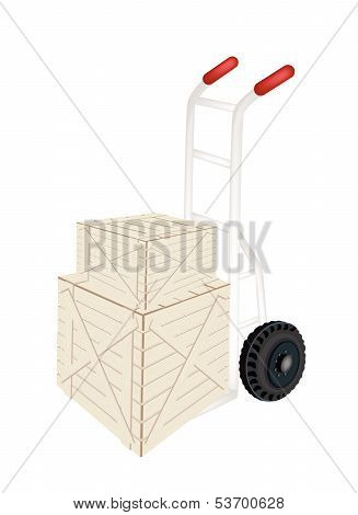A Hand Truck Loading Two Shipping Boxes