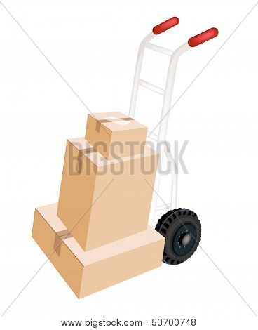 A Hand Truck Loading Stack Of Shipping Boxes