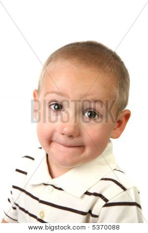 Silly Young Kid With Wide Open Eyes