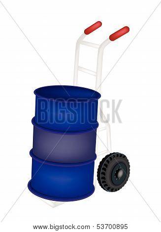 A Hand Truck Loading An Oil Barrel