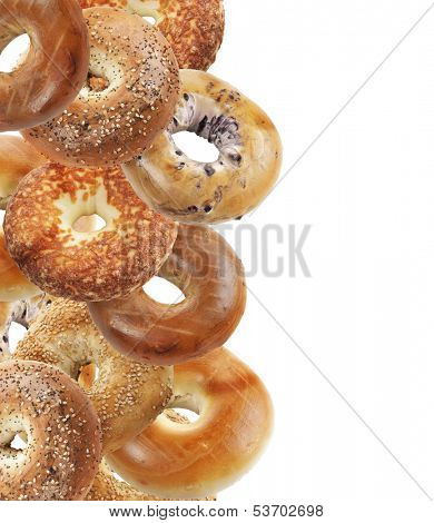 Assortment Of Bagels Isolated On White Background