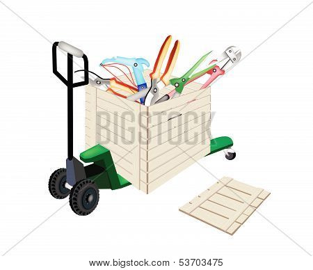 Pallet Truck Loading Craft Tools In Shipping Box