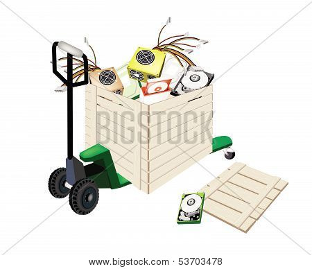 Pallet Truck Loading Hardware Computer In Shipping Box