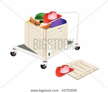 Pallet Truck Loading Hats In Shipping Box