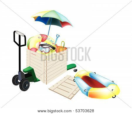 Pallet Truck Loading Beach Items In Shipping Box