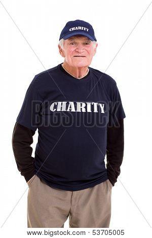 smiling senior volunteer isolated on white