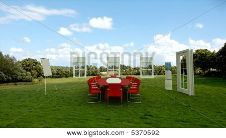 Business Meeting In A Meadow