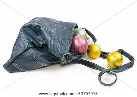 Leather Bags With Christmas Balls