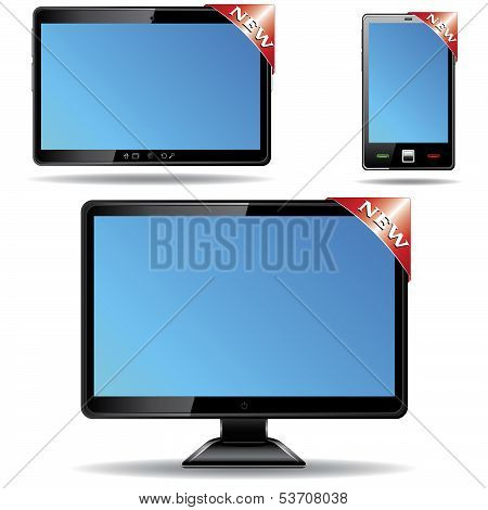 Monitor, Tablet And Smartphone With Label Isolated On White