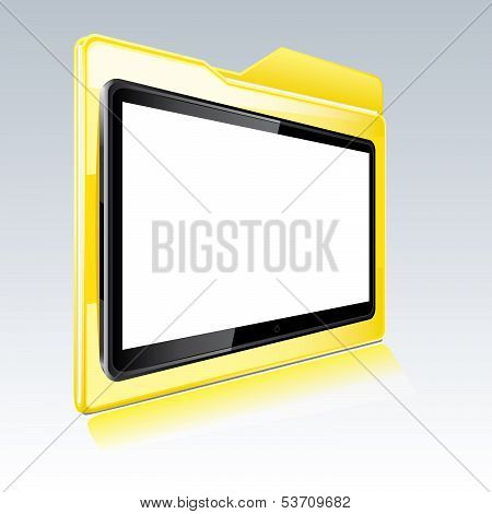 Folder With Abstract Monitor Isolated