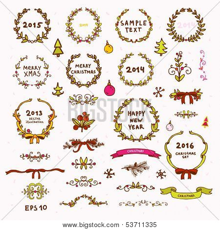 Cute Christmas Wreath, Dividers, Bow, Christmas Tree, Ribbons and Frames Set. Xmas Retro Decorations for Vintage Holiday Design. Vector Collection.