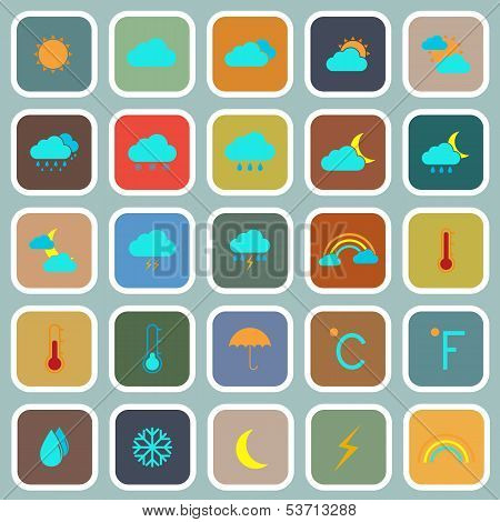 Weather Flat Color Icons On Blue Background