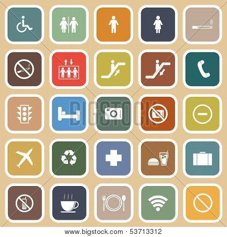 Public Flat Icons On Orange Background