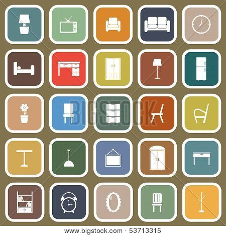 Furniture Flat Icons On Brown Background