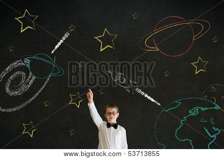 Hand Up Answer Boy Business Man With Chalk Universe Planet Solar System On Blackboard Imagining Spac