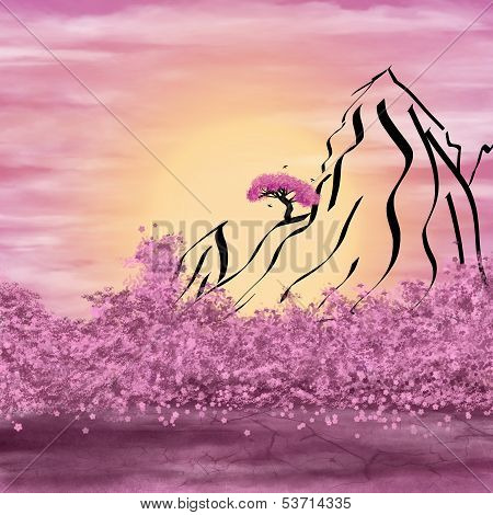 Schematic Mountains And Flowering