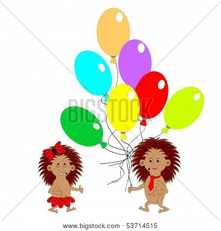 A Couple Of Funny Hedgehogs With Many Colorful Balloons