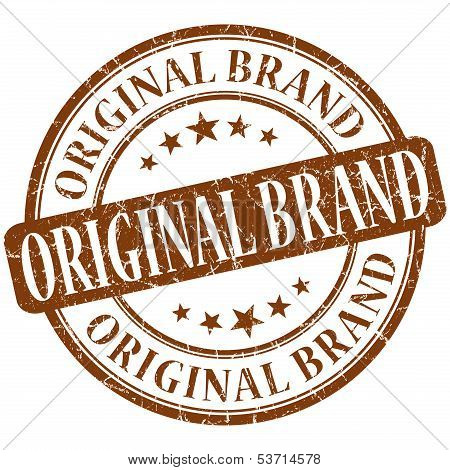 Original Brand Grunge Brown Round Stamp