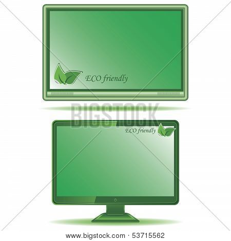Green Monitor Isolated On White Background