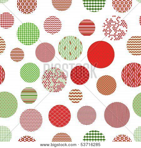 Red green and white patterned circles geometric seamless pattern, vector