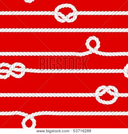 Navy rope with marine knots seamless pattern in red and white, vector