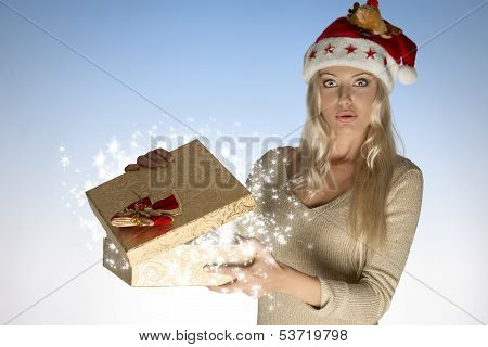Surprised Woman With Christmas Box
