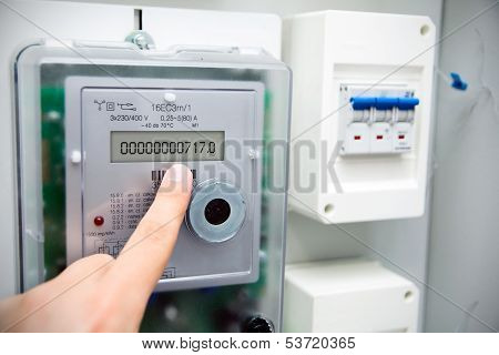Modern Electric Meter Close Up View