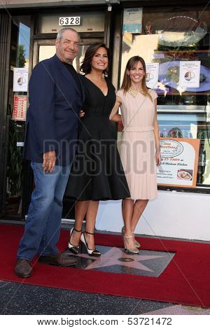 LOS ANGELES - NOV 8:  Dick Wolf, Mariska Hargitay, Hilary Swank at the Mariska Hargitay Hollywood Walk of Fame Star Ceremony at Hollywood Blvd on November 8, 2013 in Los Angeles, CA\