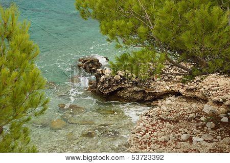 Rocky Shore Of The Adriatic Sea