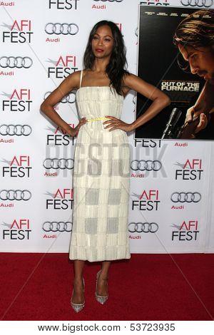 LOS ANGELES - NOV 9:  Zoe Saldana at the AFI FEST 2013 Presented By Audi -