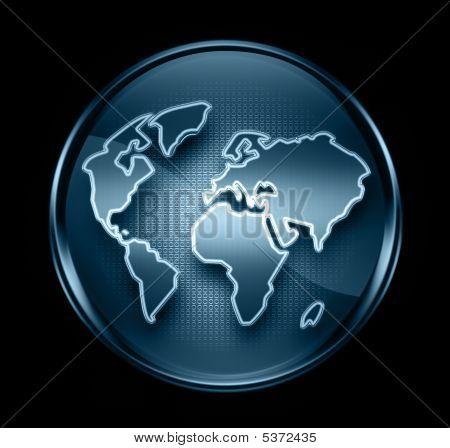 Mundo de icono azul oscuro, aislado en negro