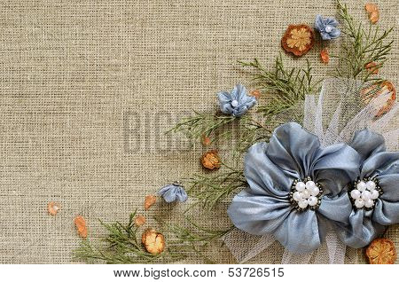 Background With Handmade Flowers Arrangement
