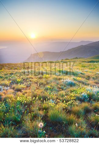 Sunrise In Summer Mountains.
