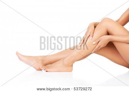 Female legs. Closeup.Bodypart.Isolated on white.