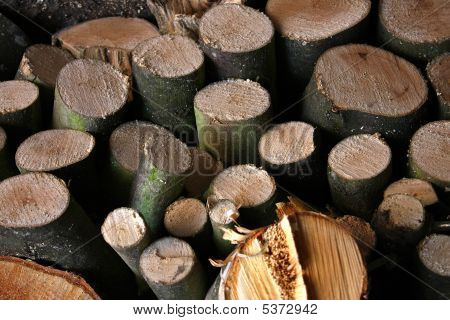 A Pile Of Firewood Logs