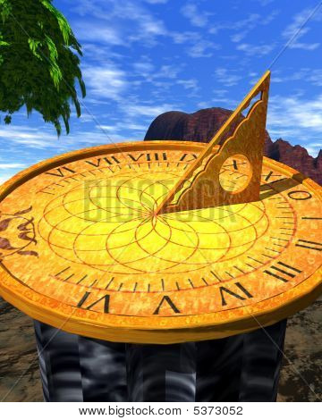 Golden Sundial In Garden