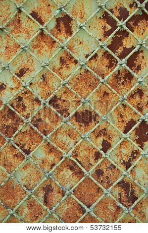 Old Rusty Metal Grill Fence