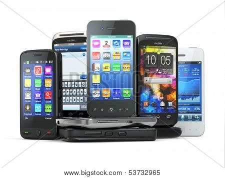 Choose mobile phone. Pile of new cellphones. 3d