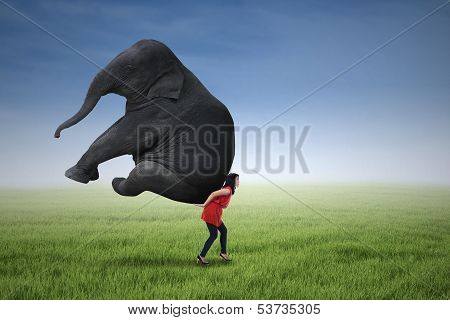 Beautiful Woman Lifting Heavy Elephant
