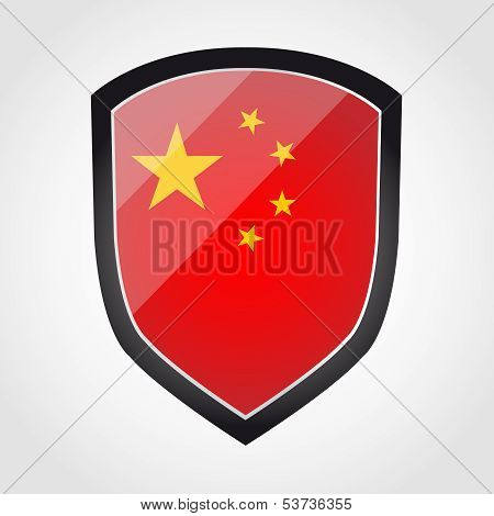 Shield with flag inside - China - vector