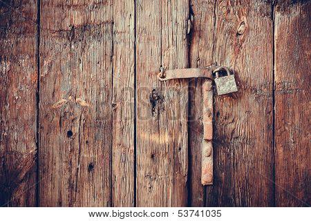Closeup vintage old wooden door
