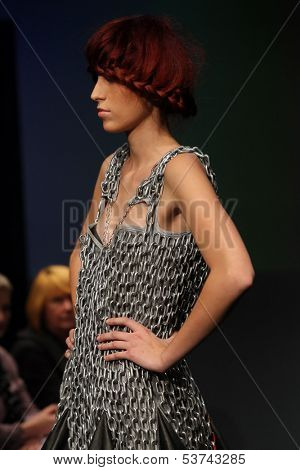 ZAGREB, CROATIA - NOVEMBER 07: Fashion model wearing clothes designed by Anita Koturic on the Fashion Wardrobe show on November 07, 2013 in Zagreb, Croatia.