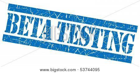 Beta Testing Grunge Blue Stamp