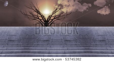 Stairs lead into sunset