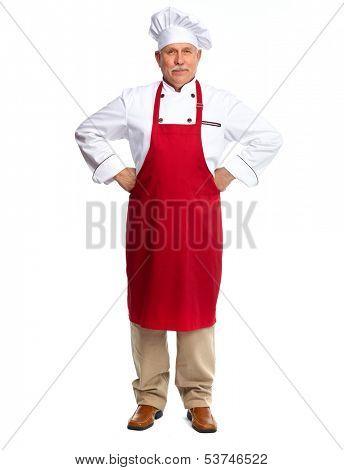 Senior professional chef man. Isolated over white background
