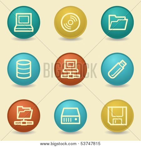 Drive storage web icons, retro buttons
